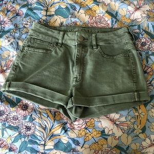American Eagle High Rise Shortie Olive Jean Shorts
